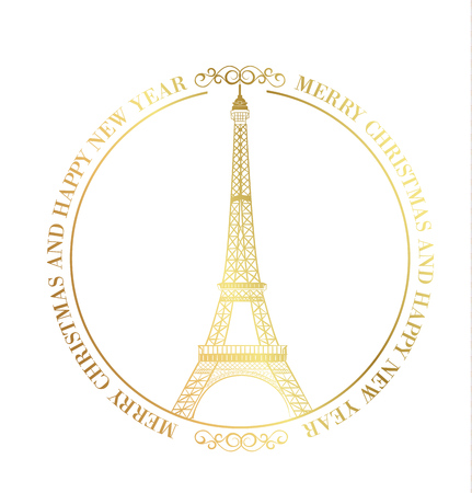 Happy new year card over white background with golden sparks. Eiffel tower with Golden confetti isolated over white background and sign Merry Christmas Paris Eiffel Tower France. Vector illustration. Ilustracja