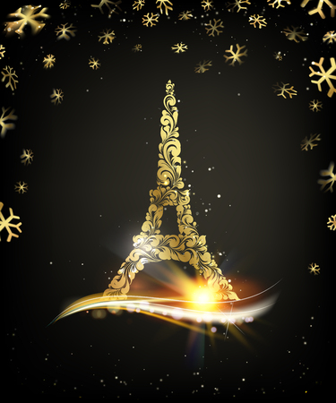 Tarjeta de feliz año nuevo sobre fondo negro con chispas doradas. Torre Eiffel con confeti dorado aislado sobre fondo negro y firmar Feliz Navidad París Torre Eiffel Francia. Ilustración de vector.