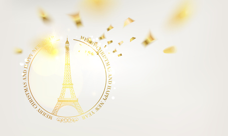 Happy new year card over light background with golden sparks. Eiffel tower with Golden confetti isolated over white background and sign Merry Christmas Paris Eiffel Tower France. Vector illustration.
