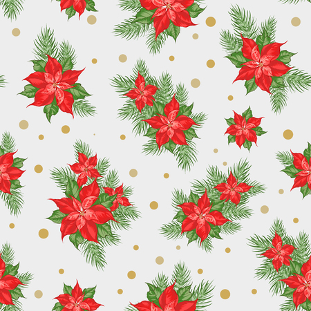 Red poinsettia flower pattern. Seamless holiday background with christmas star. Handmade floral pattern with poinsettia. Vector illustration. Ilustração