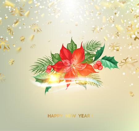Fantasy christmas fir tree with poisettia flower and golden confetti on background. Vector illustration Ilustração