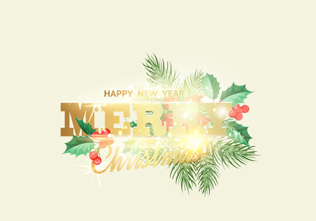 Floral garland or red poinsettia with merry christmas sign over white background. Vector illustration.