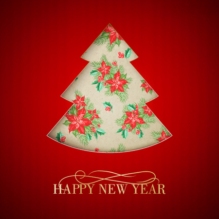 Red christmas fir tree with poisettia flower on red background. Vector illustration