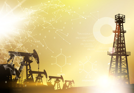 Oil derrick industrial machine for drilling. Oil derrick infographic with stages of process oil production. Oil Industry image with golden style. Vector illustration. Vektorgrafik