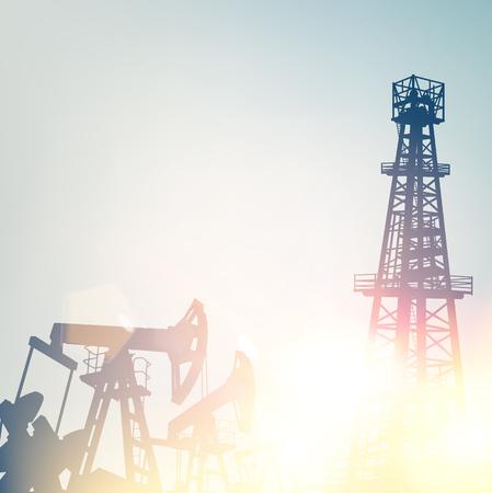 Ölpumpen und Bohrtürme bei Sonnenuntergang Vektorgrafik