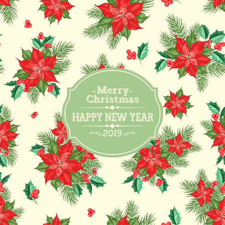 Merry christmas card with badge for text and misletoe pattern on the white background. Holiday invitation card with poinsettia floral background. Vector illustration. Banque d'images