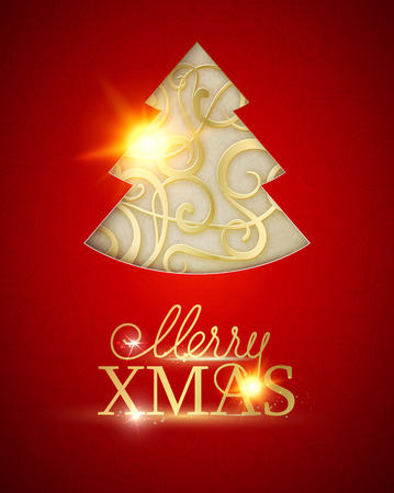 Merry Christmas and Happy New Year 2018 card with golden steampunk fir over red background. Vector illustration.