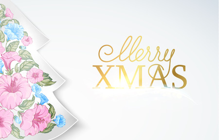 Chrismas fir tree with pink tropical flowers inside. Happy new year card design. Vector illustration.
