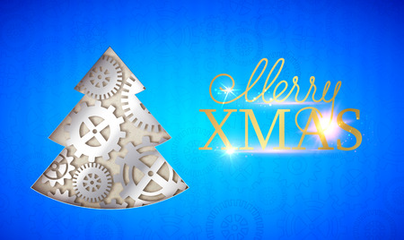Happy new year card. Merry Xmas sign with fir tree made from gears over blue background. Vector illustration.