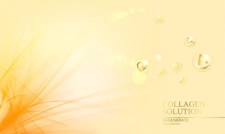 Regenerate face cream and Vitamin complex concept. Shining golden essence droplet. Vitamin E drop in form of sphere.