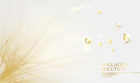 Regenerate face cream and Vitamin complex concept. Shining golden essence droplet. Ilustração