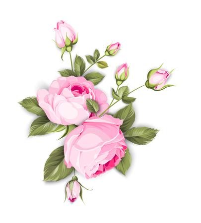 Ramo de flores de primavera de guirnalda de brotes de color. Etiqueta con flores color de rosa. Ilustración vectorial