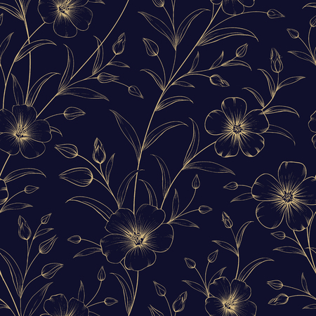 Fabric seamless pattern over dark blue background. Vintage fabric with flowers. Book cover with floral texture. Golden lines on blue background. Vector illustration.