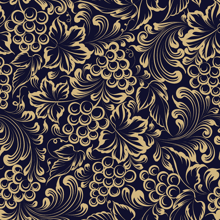 Vine seamless pattern for package design. Old style golden  with grape berries and leaves. 向量圖像