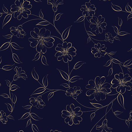 The Elegant monochrome flowers fabric, seampless pattern. Vector illustration.