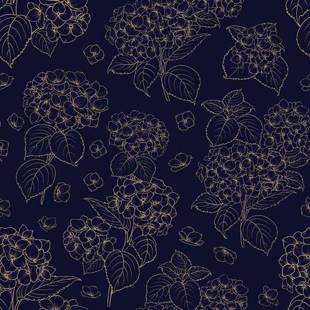 Blossom flower hydrangea on seamless pattern. Mop head hydrangea flower pattern. Beautiful blue flowers. Vector illustration.