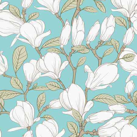 Seamless pattern floral elements. Bundle of Linear sketch of Magnolia Flowers. Collection of Hand drawn style black and white line illustrations on a white background. Vector illustration Vecteurs