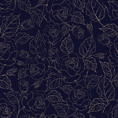Beautiful seamless pattern of roses. Vector floral illustration in vintage style.