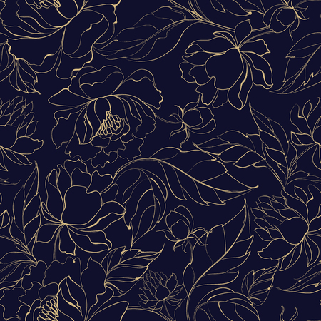 Seamless floral pattern with Peony. Vector illustration. Illustration
