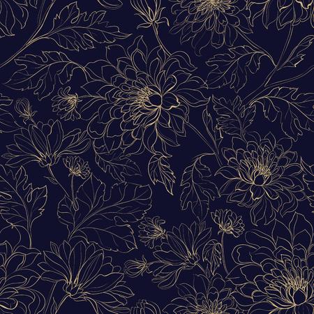 Seamless pattern background from chrysanthemums. Vector illustration. Иллюстрация