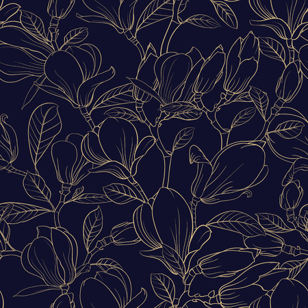 Seamless pattern floral elements. Bundle of Linear sketch of Magnolia Flowers. Collection of Hand drawn style black and white line illustrations on a white background. Vector illustration