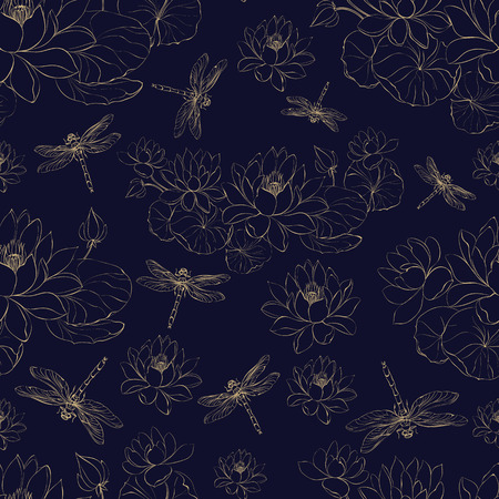 Seamless golden pattern lotus flower and dragonfly. Vector illustrtion.