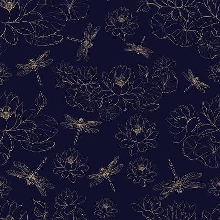 Seamless golden pattern lotus flower and dragonfly. Vector illustrtion.