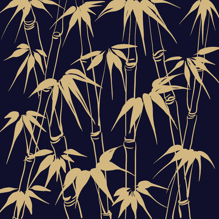 Bamboo with leaves seamless pattern. The dark Tropical background. Vector illustration. Иллюстрация