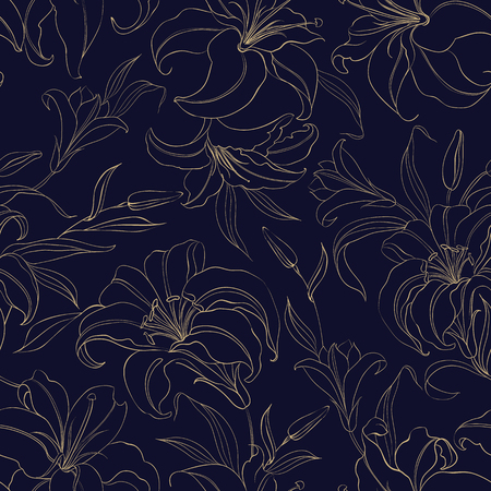 Floral seamless pattern with gentle lily flowers. Vector illustration.