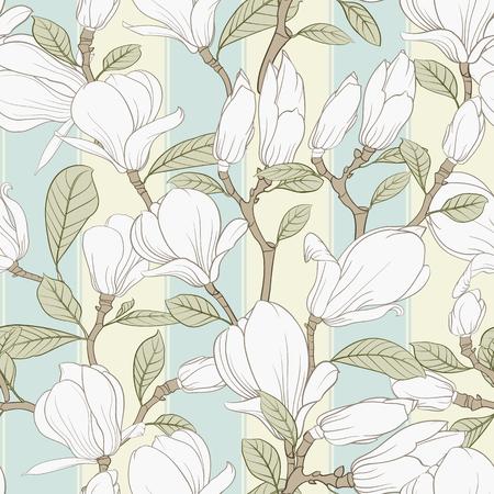 Éléments floraux de modèle sans couture. Paquet de croquis linéaire de fleurs de magnolia. Collection d'illustrations de lignes noires et blanches de style dessinés à la main sur fond blanc. Illustration vectorielle
