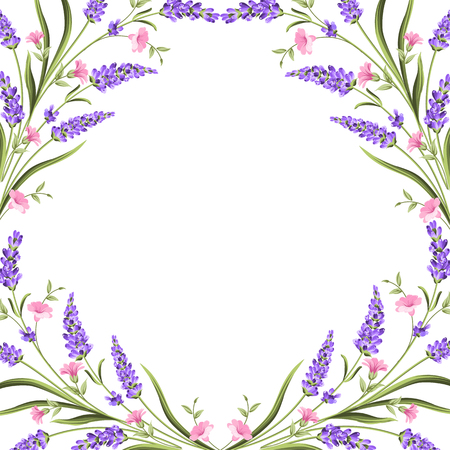 Elegant card with lavender flowers in watercolor paint style. The lavender frame and text. Lavender border for your text presentation. Vector illustration. Zdjęcie Seryjne - 125338679