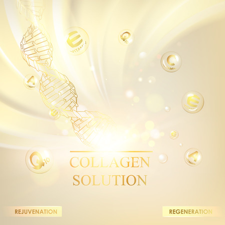 Concept Skincare Cosmetic. Regenerate cream and Vitamin Background. Sepia banner with a DNA molecule of polygons. Vector illustration.