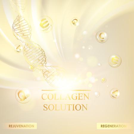 Concetto Cosmetico per la cura della pelle. Crema rigenerante e sfondo vitaminico. Banner seppia con una molecola di DNA di poligoni. Illustrazione vettoriale.