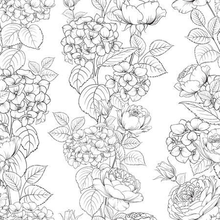 Seamless pattern of rose flower for fabric design. Luxurious line art of spring flowers. Vector illustration. 矢量图像