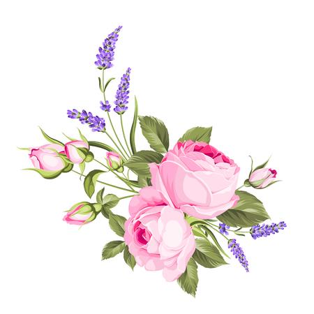 Bukiet ślubnych kwiatów w kolorze pączek wianka. Etykieta z kwiatami róży i lawendy. Ilustracja wektorowa.