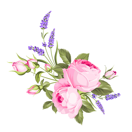 Mazzo dei fiori di cerimonia nuziale della ghirlanda del germoglio di colore. Etichetta con fiori di rosa e lavanda. Illustrazione vettoriale
