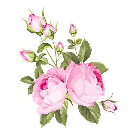 Bouquet di fiori primaverili di ghirlanda di boccioli di colore. Etichetta con fiori di rosa. Illustrazione vettoriale.