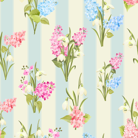 Seamless pattern of siringa and galantus flowers for fabric pattern on blue tile background. Vector illustration.