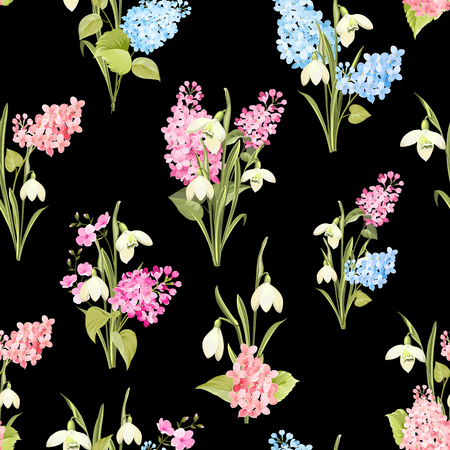Seamless pattern of siringa and galantus flowers for fabric pattern over black background. Vector illustration. Vettoriali