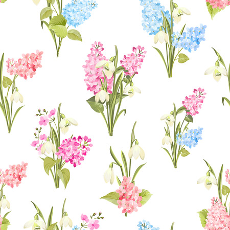 Seamless pattern of siringa and galantus flowers for fabric pattern. Vector illustration.