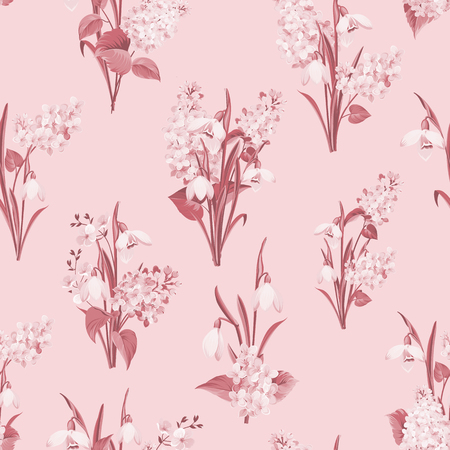 Seamless pattern of siringa and galantus flowers for fabric pattern on blue backdrop. Vector illustration.
