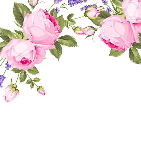Spring flowers bouquet of color bud garland. Label of lavender with rose flowers. Vector illustration.