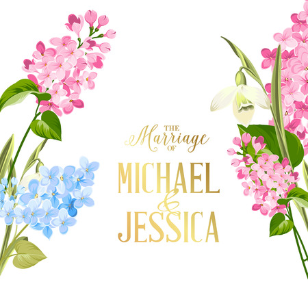 Marriage invitation card. Wedding invitation with spring flowers. Bridal shower invitation with white background. Marriage floral invitation for spring or summer ceremony. Vector illustration.