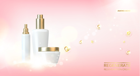 Lotion cream for hand from white bottle. Jar of cream isolated on pink background. Bottle of cosmetic lotion and jar of cream. Vector illustration. 写真素材 - 124768658