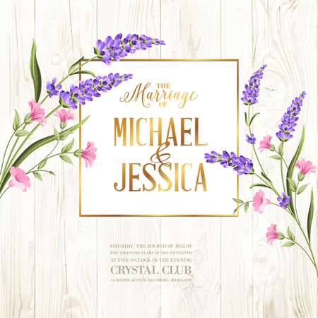 Printable vintage marriage invitation with flowers over wooden pattern. Vector illustration. Banque d'images - 124768663