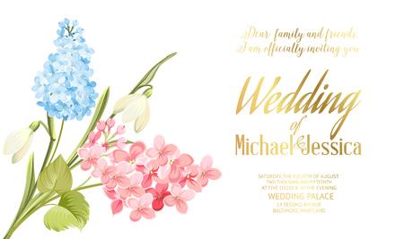 Spring syringa flowers  for the wedding card design.