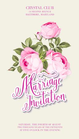 Marriage invitation on ivory background, vintage floral invitation for spring or summer wedding. Vector illustration.