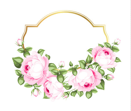 Flower garland for invitation card. Wedding card template with blooming roses and custom text isolated over white background. Pink flowers on the white background. Vector illustration.