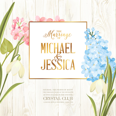 Marriage invitation card. Wedding card with spring flowers. Bridal shower banner on wooden background. Marriage floral invitation for spring or summer ceremony. Vector illustration. Illustration