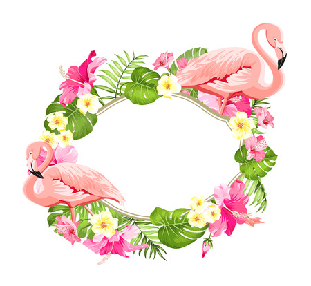 Tropical flower frame for your card design with clear space for text. Summer illustration with bouquet of green palm leaves and red hibiscus flowers. Pink flamingo on white background.